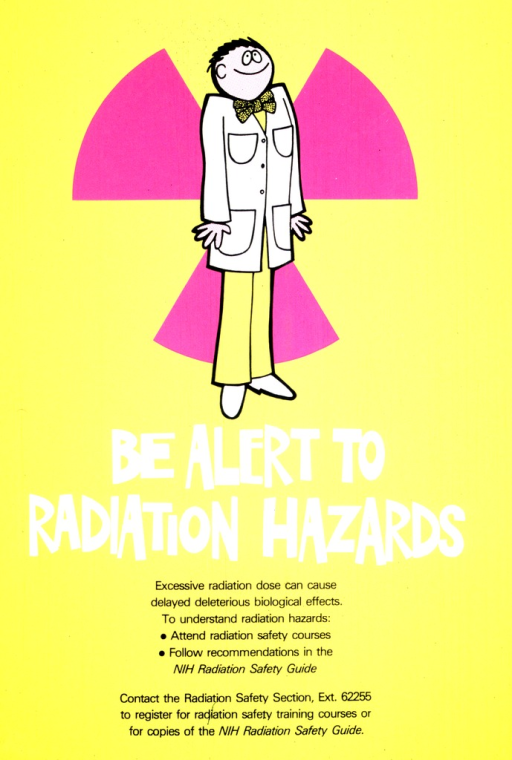 <p>A goofy looking man in a bow tie and a lab coat stands in front of the symbol for radiation.</p>