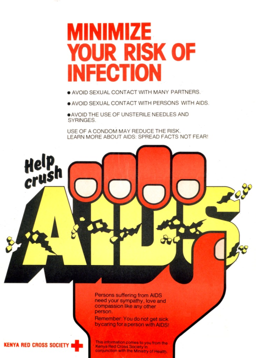 <p>Predominantly white poster with multicolor lettering.  Title at top of poster.  Text listing prevention methods below title.  Note at center of poster.  Visual image is an illustration of a hand that has grasped the note word AIDS and is crushing it.  Pieces of the letters fall away and all letters have cracks.  Caption superimposed on hand.  Publisher and sponsor information at bottom of poster.</p>