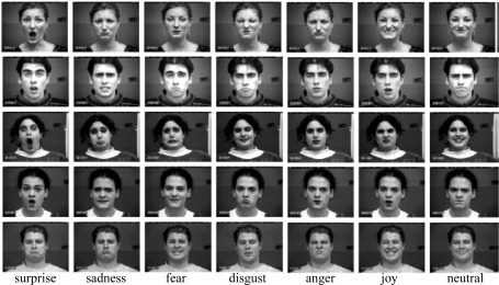 Examples of facial expression images from the Cohn-Kanade database.