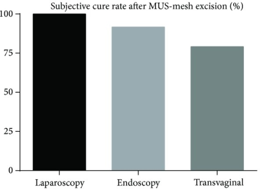 Subjective cure rate after MUS-mesh excision (mean), P < 0.05.