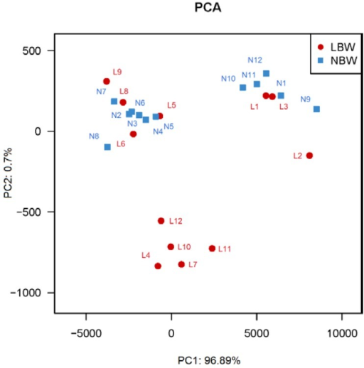 Principal Coordinate Analysis (PCA) plots in LBW and NBW neonates. PCA plots based on unweighted Unifrac metrics. n = 12, in each group. Abbreviations: LBW, Low birth weight; NBW, Normal birth weight.
