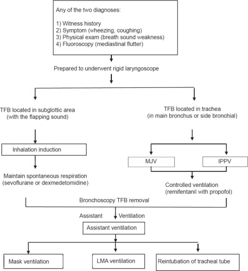 Diagnostic flow chart of TFB aspiration in children treated at the Eye and ENT Hospital. MJV: Manual jet ventilation; IPPV: Intermittent positive-pressure ventilation; TFB: Tracheobronchial foreign body; LMA: Laryngeal mask airway.
