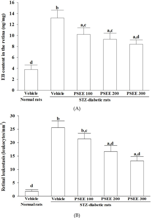 Retinal vascular permeability (A) and leukostasis (B) in rats receiving 8-week treatments. STZ-diabetic rats (STZ) were dosed by oral gavage once per day for 8 weeks with PSEE at dosages of 100 (PSEE 100), 200 (PSEE 200), or 300 mg/kg (PSEE 300). Normal or STZ-diabetic rats receiving vehicle treatment were given the same volume of vehicle (distilled water) used to prepare the test medication solutions. Retinal vascular permeability was measured with EB dye as a tracer. Evans blue was normalized by total protein concentration in the tissue. Values (mean ± SD) were obtained for each group of ten animals. ap < 0.05 and bp < 0.01 compared to the values of vehicle-treated normal rats, respectively. cp < 0.05 and dp < 0.01 compared to the values of vehicle-treated STZ-diabetic rats, respectively.