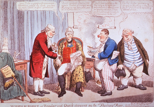 <p>A physician taking the pulse of a man seated in a chair; another man stands holding a large bowl of soup, and behind him stands John Bull.  Each of the three, the physician, the soup bearer, and John Bull, offers an opinion on the seated man's health.</p>