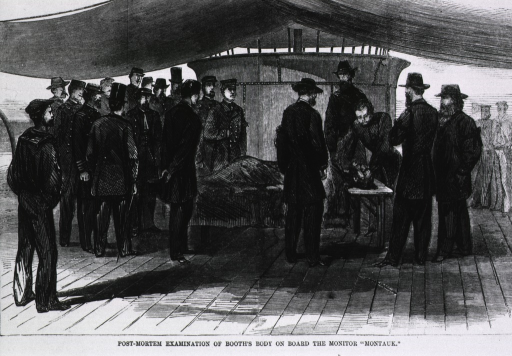 <p>Post-mortem examination of [John Wilkes] Booth's body on board the monitor &quot;Montauk&quot; [they treated the fatal bullet through his neck].</p>