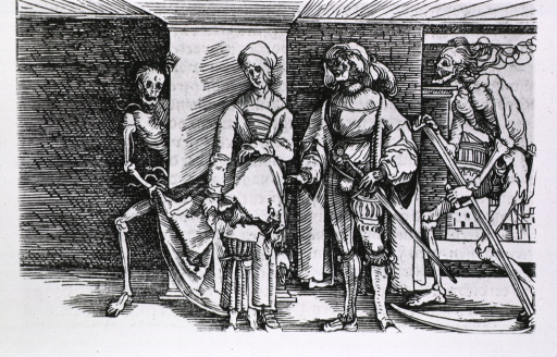 <p>A man and a woman are standing next to each other, the woman appears to be pregnant, and a young child is looking under her apron; Death has entered from the right carrying a scythe, and on the left, Death is holding the woman's dress.</p>