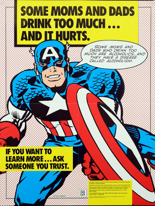 <p>Multicolor poster with black lettering.  Title at top of poster.  Visual image is an illustration of the Marvel Comics character Captain America, apparently running and holding a shield.  Captain America speaks the caption.  Note on left side of poster near bottom.  Publisher and sponsor information at bottom of poster.</p>