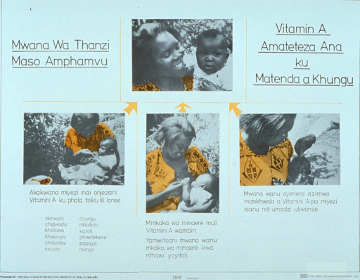 <p>White poster with black lettering and goldenrod highlights.  Title at top of poster.  Visual images are black and white photo reproductions.  The photos show a mother and baby, the mother feeding the baby solid food, the mother breastfeeding the baby, and the baby receiving eye drops.  Text on the poster appears to include a list of foods high in vitamin A.  Publisher and sponsor information at bottom of poster.</p>