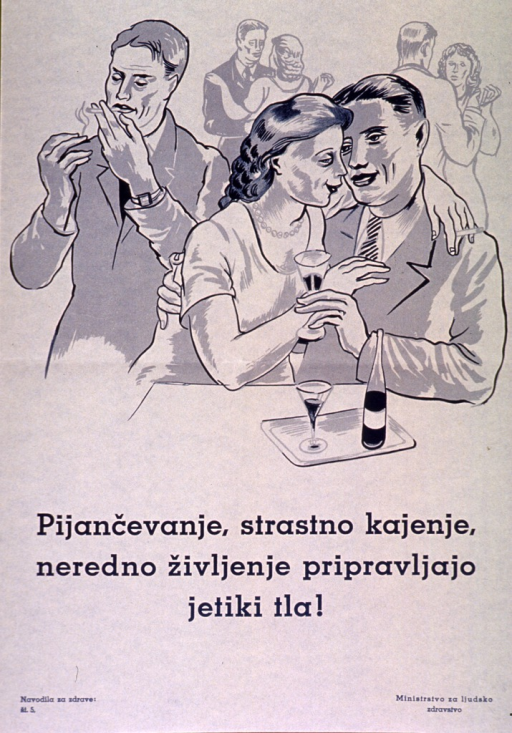 <p>Off-white poster with teal blue lettering.  Visual image is an illustration of a man smoking, a man and woman having a drink together, and two couples dancing.  Title below illustration appears to state that drinking, smoking, and hectic living are preparation for tuberculosis.  Series statement in lower left corner.  Publisher information in lower right corner.</p>