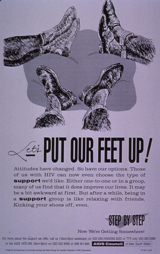 <p>Light gray poster with three pairs of feet and legs from the calf down. The visual is in black and is intended to be representative of various socioeconomic backgrounds. The shoes include dress shoes, casual shoes, and sneakers; the leg coverings include casual slacks, jeans, and socks only. The text is in black and stresses the importance of HIV testing for early detection and treatment. Phone numbers for further information and the AIDS Hotline are listed at the bottom of the poster.</p>