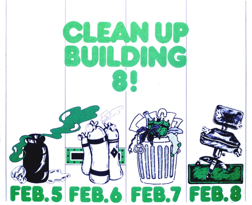 <p>There are four dates listed, Feb. 5 through 8.  Above each is a picture: an uncorked jar with fumes coming out, fire extinguishers, a full garbage can, and a desk chair with stuffing coming out of it.</p>