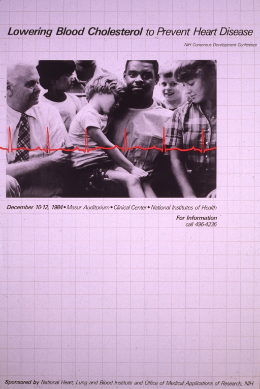 <p>The poster is designed to look like a piece of graph paper, the blocks being 3-inch squares.  Across the top third of the poster is a photograph of a group of people and the reading from an EKG across it in red.  There are several children, one sitting on an African American adult's lap.  There is another white adult male in the photograph and a portion of the shoulder and neck of another person, possibly an adult.  A phone number for further information is also listed.</p>