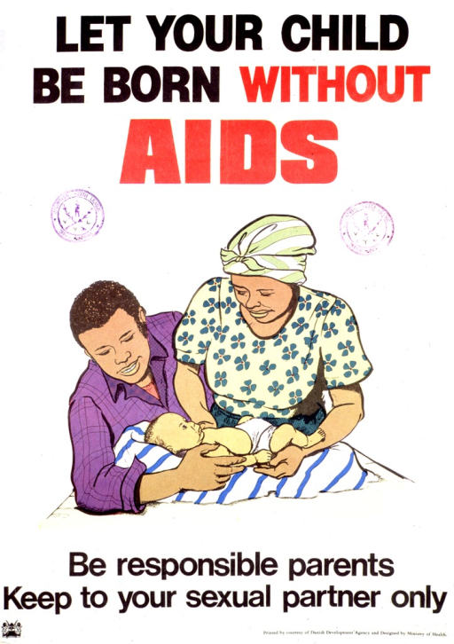 <p>Predominantly white poster with red and black lettering.  Title at top of poster.  Visual image is a color illustration of a mother and father hovering over their infant.  Caption below illustration.  Publisher and sponsor information at bottom of poster.  Poster also bears stamps from the Volunteer Youth League.</p>