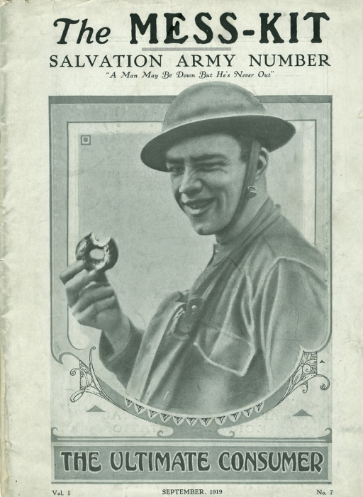 <p>Image of the cover page of The mess-kit, vol. 1, no. 7 showing a male solider eating a donut, smiling and winking.  Originally published by USA Base Hospital, Camp Merritt, New Jersey.</p>