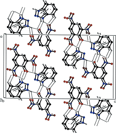 Part of the crystal structure showing the one-dimensional structure formed by a combination of N—H···O and C—H···O hydrogen bonds and π–π interactions (dashed lines). Hydrogen atoms not involved in the motif have been omitted for clarity.