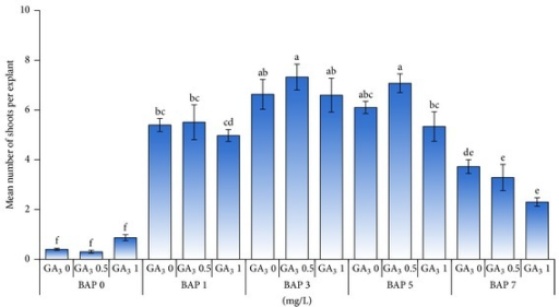 Effect of different concentrations of BAP (mg/L) in combination with GA3 (mg/L) on the number of shoots per explant.