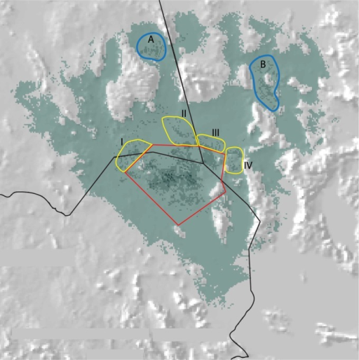 Proposed key sites (yellow polygons) for the conservation of the Bolson tortoise, Gopherus flavomarginatus.The red line delineates the current protected polygon of the Mapimí Biosphere Reserve. Sierra del Diablo (A) and Sierra Mojada (B) represent putative high abundance sites; nonetheless, these are low priority areas due to their natural isolation and low human population density.