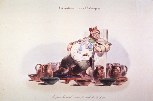 <p>Caricature on hypochondria and protective measures against cholera:  An overweight man seated in a chair surrounded by pitchers and bowls.</p>