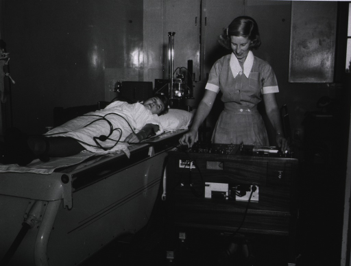 <p>Royal Perth Hospital.  An electro-cardiagram technician taking a tracing.</p>