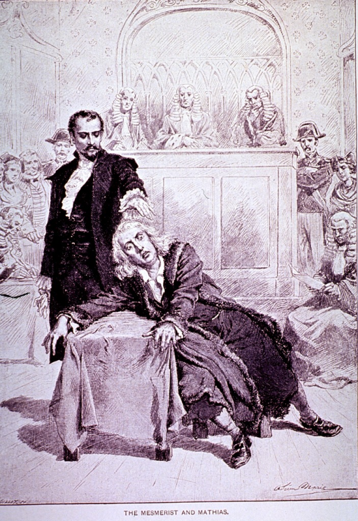 <p>A man has placed his hand on the head of another man who sits in a chair and is partially slumped over a table; there is a small audience in the background.</p>