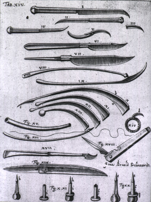 <p>Many instruments used for bloodletting including several different tupes of lancets.</p>