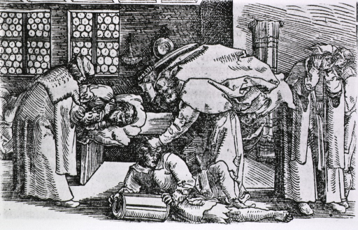<p>Interior view: on the right, a man with his hands over his ears is being examined by another man; on the left, a man is applying ointment to the right ear of a man lying on a bed; center, a man appears to be about to chop off a man's ears.</p>