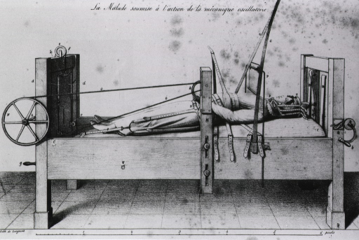 <p>Female patient stapped into an orthopedic bed.</p>