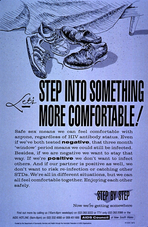 <p>Light blue poster with the visual in black showing a pair of sneakers and a pair of laced casual shoes on the floor with part of a wooden bed frame and blanket  behind them. The text is in black and stresses the importance of HIV testing for early detection and treatment. Phone numbers for further information and the AIDS Hotline are listed at the bottom of the poster.</p>