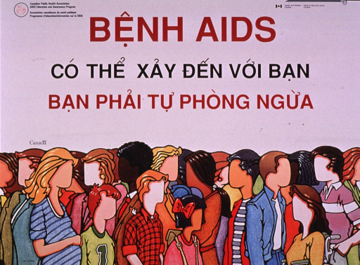 <p>Predominantly white poster with red and black lettering.  Publisher information in upper corners.  Title in upper portion of poster.  Visual image is an illustration of a diverse crowd of faceless people.</p>