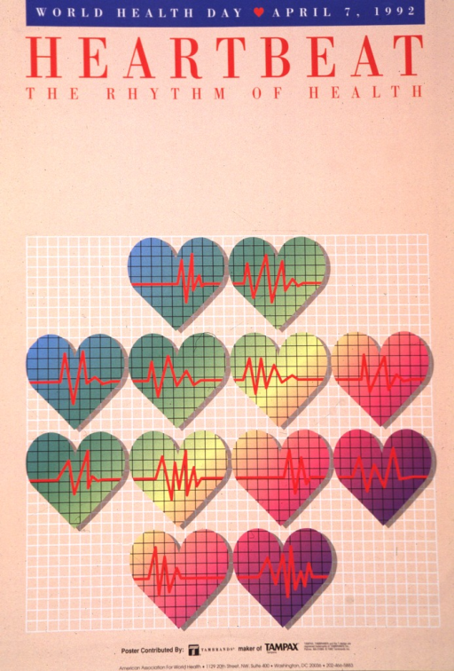 <p>Inside valentine-type hearts are readings from a heart monitor.</p>