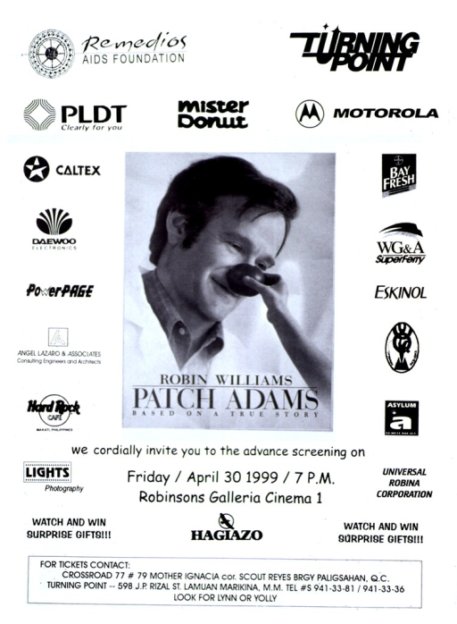 <p>White poster with black lettering.  Publisher information at top of poster.  Names and logos for several sponsors along edges of poster and under publisher information.  Visual image is a b&amp;w reproduction of a promotional poster for the movie showing the star, Robin Williams, wearing a clown nose.  Title superimposed at bottom of image.  Caption below image.  Contact information for tickets at bottom of poster.</p>