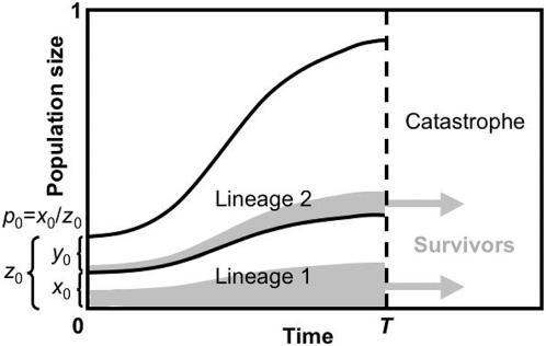 An illustration of the basic model, defining the three dimensionless model parameters (T, z0 and p0).Two lineages compete for resources during the growth interval before catastrophe occurs at time T. The initial size of the focal lineage is x0, expressed as a proportion of the total carrying capacity. The initial size of the total population is z0 = x0+y0, where y0 is the initial size of the competitor lineage. The initial frequency of the focal lineage is p0 = x0/z0. Persister cells are represented by the shaded areas, and non-persister cells are unshaded. Upon the catastrophe occurring, all persister cells survive and all non-persister cells are destroyed.