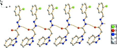 Hydrogen-bonded (dashed lines) chain in (I). H atoms not included in hydrogen bonding have been omitted for clarity.