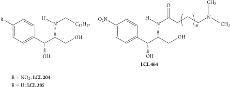 Some of the basic analogues of D-MAPP and B-13 developed by Gatt et al. (LCL 204, LCL 385) and by Bielawska et al. (LCL 464).