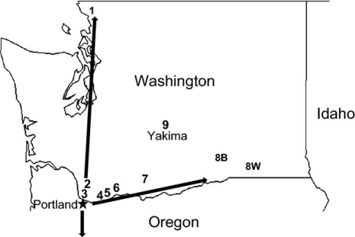 Map of the nine paired collection sites in Washington (WA) state genetically analyzed in the study. 1 = Bellingham; 2 = Vancouver, Washington State University campus; 3 = Vancouver; Burnt Bridge Creek Greenway; 4 = St. Cloud Park; 5 = Beacon Rock State Park; 6 = Home Valley; 7 = Klickitat; 8B = Burbank black hawthorn; 8W = Walla Walla snowberry; 9 = Tampico near Yakima. See Table S1 for site descriptions. Arrows denote spread of R. pomonella north and south along the western side of the Cascade Mountains and eastward into the Columbia River gorge following its putative introduction into Portland, OR. Black hawthorn-infesting populations of the fly have now encroached on the commercial apple-growing region of central WA centered in Yakima.