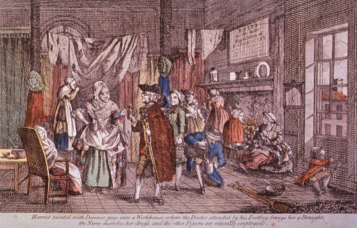 <p>Interior view of workhouse showing several people at various activities.</p>