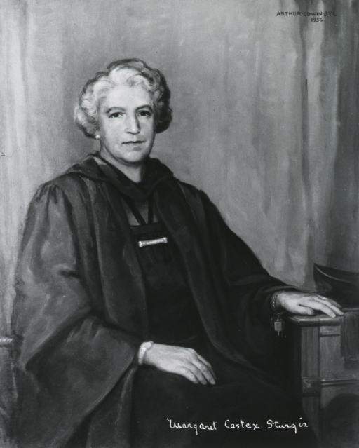 <p>Three quarter length, seated, wearing academic robe, full face, body to right, one hand in lap, the other on table.</p>
