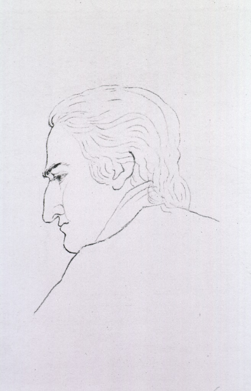 <p>Head and shoulders, left profile, in outline only.</p>