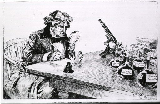 <p>A scientist sits at a table looking at a tiny cupid.  To the right a microscope, and several containers of bacteria.</p>