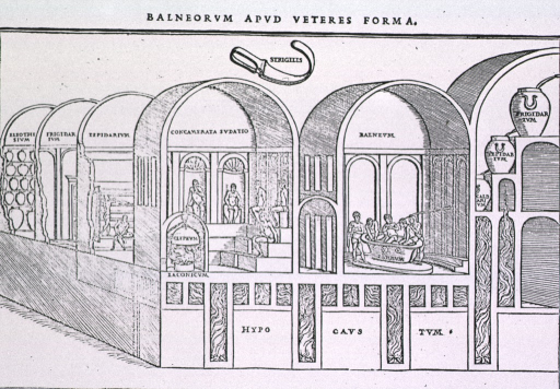<p>Cutaway view of Roman bath, as envisioned by 16th century artist.</p>
