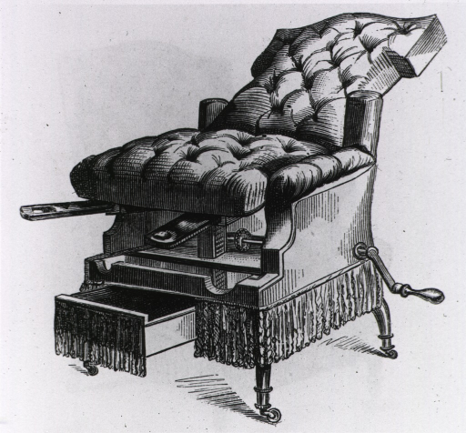 <p>Gynecologic examination chair.</p>