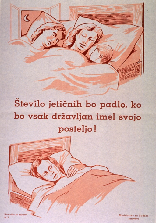 <p>Off-white poster with orange-brown lettering.  Visual images are illustrations of two adults and a child sleeping in a bed and a single adult sleeping in a bed.  Title in center of poster, between illustrations.  Title appears to address sleeping arrangements, indicating that the incidence of tuberculosis will fall when every person has its own bed.  Series statement in lower left corner.  Publisher information in lower right corner.</p>