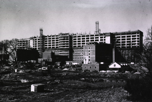 <p>Showing the rear facade of the Clinical Center one-half complete.</p>