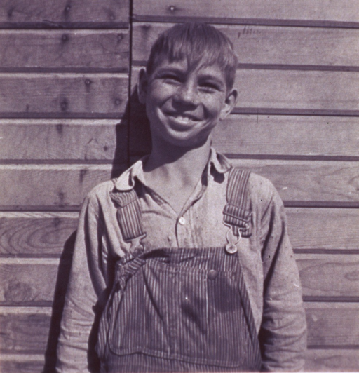 <p>Half-length portrait, facing front, of young boy wearing overalls.</p>
