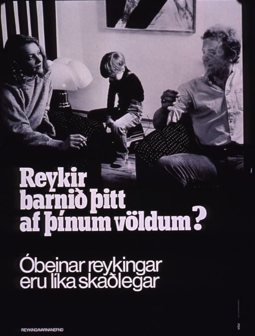 <p>Black and white poster with white lettering.  Upper portion of poster features a b&amp;w photo reproduction showing two adults and a child in a living room.  The adults both smoke cigarettes while the child sits on a toy truck in the background.  Title and caption below photo.  Title may address the concept of forcing a child to smoke.  Caption notes that passive smoke is dangerous.  Publisher information in lower left corner.</p>