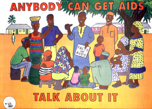 <p>Multicolor poster with red and black lettering.  Title at top of poster.  Visual image is a brightly colored illustration of a man addressing a group of people.  The man holds a book titled &quot;facts on AIDS.&quot;  The group represents all ages.  Caption below illustration.  Publisher information in lower left corner.</p>