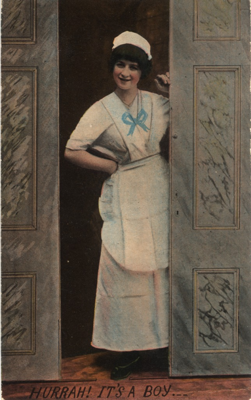 <p>Birth announcement postcard featuring a color image of a nurse standing between two sliding doors. She is wearing a blue bow on her uniform and has one hand on her hip and the other resting on the door.</p>
