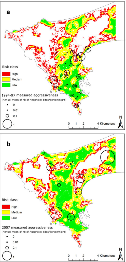Measured anopheline aggressiveness overlaid on risk maps computed using the built-up surface in a 300-m radius buffer for every pixel of the populated areas. 1a. Anopheline data from 1994-97 and risk map computed with the 1996 SPOT satellite image. Refer to Table 1 for names of the study sites. 1b. Anopheline data from 2007 and risk map computed with the the 2007 SPOT satellite image. Refer to Table 2 for names of the study sites.