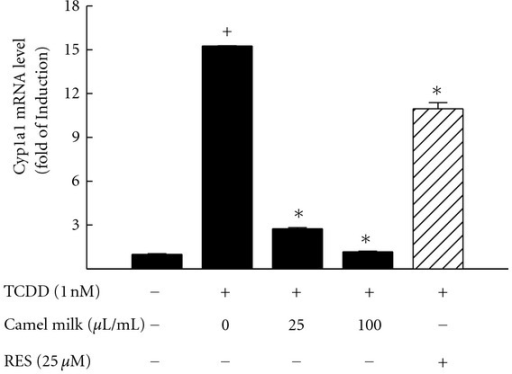 Effect of camel milk on the TCDD-mediated induction of Cyp1a1 mRNA. Hepa 1c1c7 cells were treated for 6 h with TCDD (1 nM) in the presence and absence of camel milk (fat-free) (0, 25, and 100 μL/mL) or the positive control, resveratrol (Res, 25 μM). The amount of Cyp1a1 mRNA was quantified using real-time PCR and normalized to β-actin housekeeping gene. Duplicate reactions were performed for each experiment, and the values represent mean of fold change ± SEM. (n = 4).   +P < 0.05 compared with control (sterile water-treated cells),   *P < 0.05 compared with TCDD-treated cells.