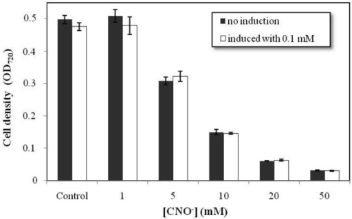 Resistance of Chromobacterium violaceum to cyanate (CNO−). The resistance assays were conducted at five concentrations of cyanate (1, 5, 10, 20 and 50 mM), using two groups of cells, not induced and induced with 0.1 mM cyanate. The error bars indicate the standard deviations for the mean values derived from the analyses in triplicate. Data on the growth of the two groups was compared using ANOVA, with a p < 0.05 significance level.